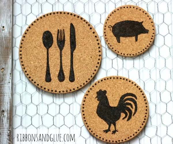 DIY Wood Burned Cork Trivets made with a wood burning tool