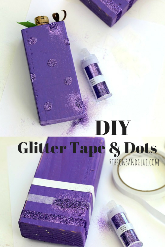 How to make DIY Glitter Tape and Glitter Dots. All you need is doubled sided tape, a round glue dot adhesive and glitter.