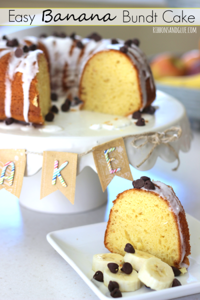 Easy Banana Bundt Cake with Cake Plate Banner