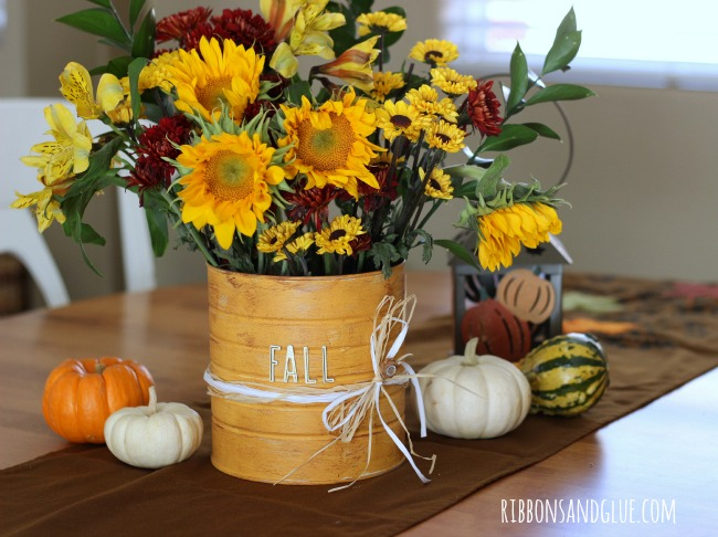 DIY Rustic Flower Vase made out of a coffee can and paint. .Beautiful Fall Flowers are an easy way to add beautiful color in to your home.