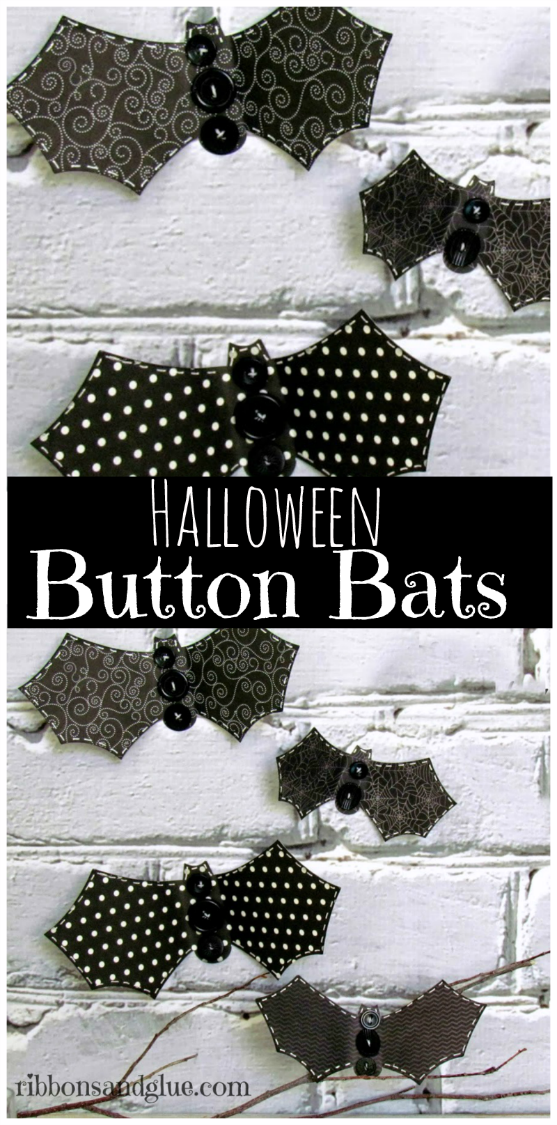 Halloween Button Bats Collage