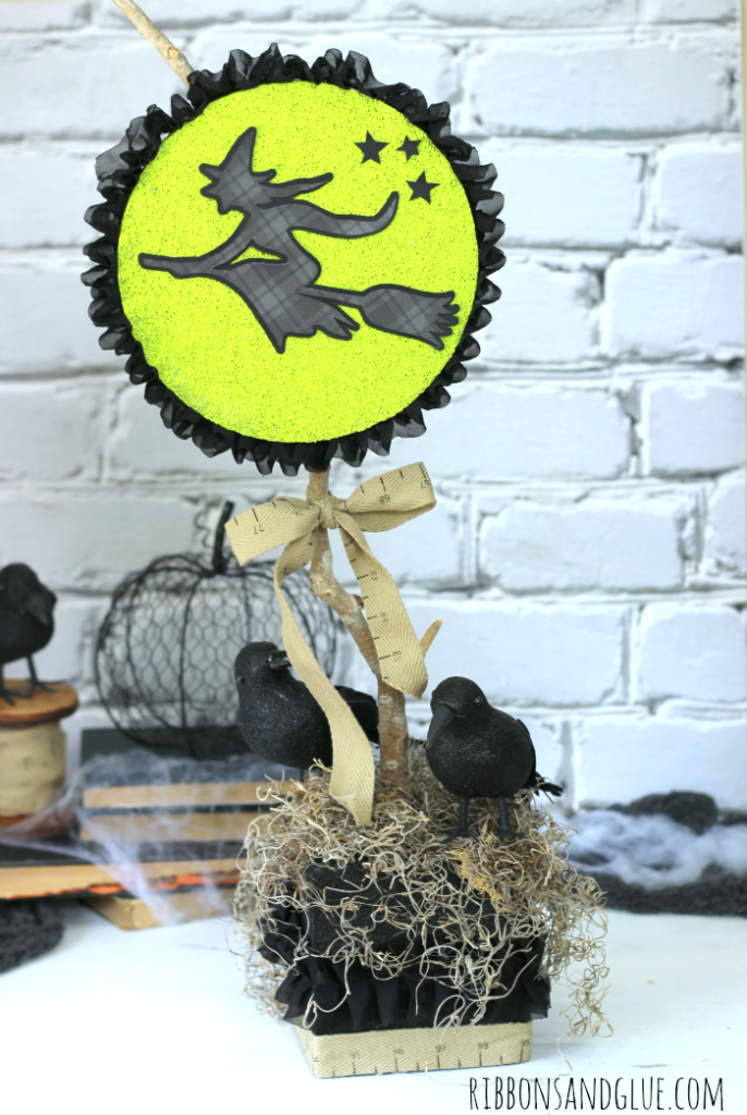 Halloween Witch Centerpiece made with Flora Craft Foam and paint. Love the Spooky Moon!