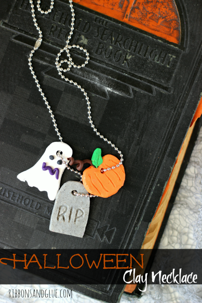 Unique Halloween Clay Necklace made with Sculpey Clay. All you need is a block of clay, a few sculpting tools and let your imagination run wild!