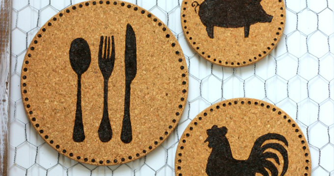 Farmhouse Wood Burned Cork Trivets