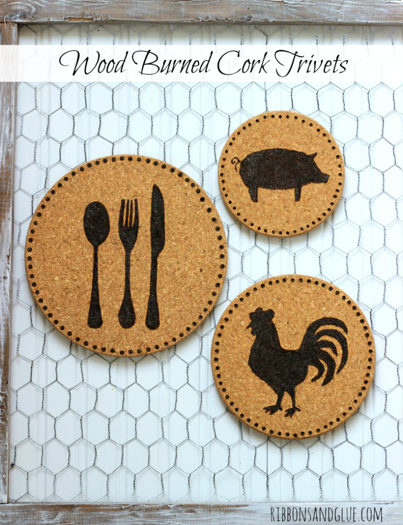 Farmhouse Wood Burned Cork Trivets. All you need is inexpensive cork trivets, stencils and a wood burning tool. Easy way to add a little bit of Farmhouse Decor in to your kitchen