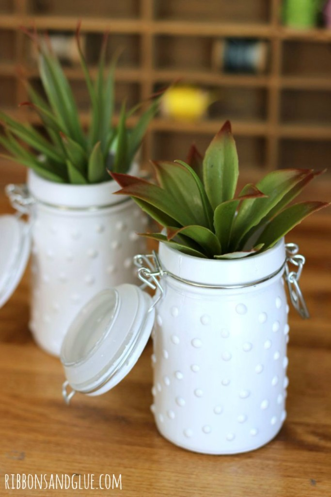 Tutorial on how to make DIY Milk Glass Jars. So easy to make and makes such a pretty statement!
