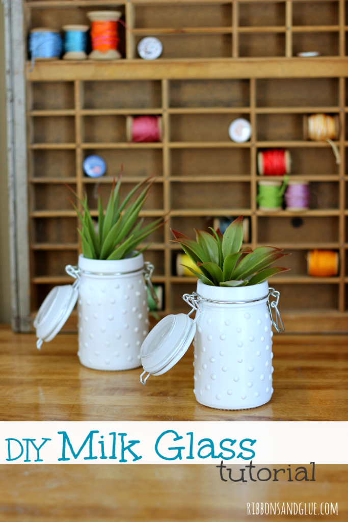 DIY Milk Glass Jars with DecoArt Liquid Glass and spray paint. . So easy to make and makes such a pretty statement! #milkglass