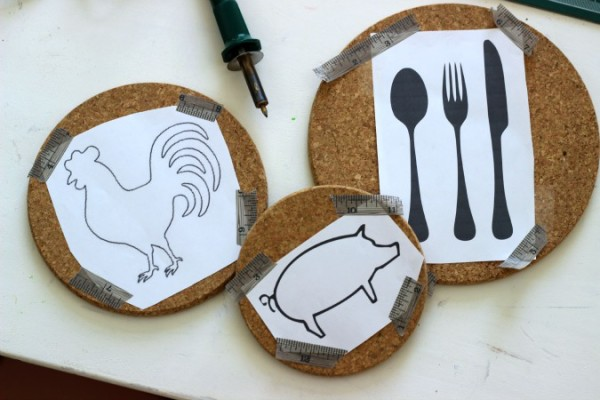Make Paper Stencils to burn in to Cork Trivets