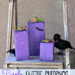 Purple Glitter Block Pumpkins