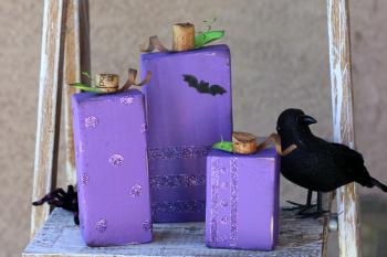 Purple Glitter Block Pumpkins
