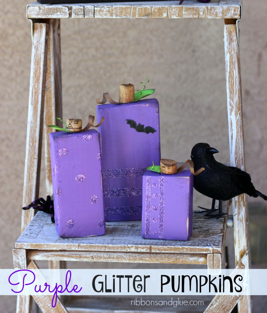 DIY Purple Glitter Block Pumpkins made from wood blocks, paint, and glitter! Such a fun Halloween decor!