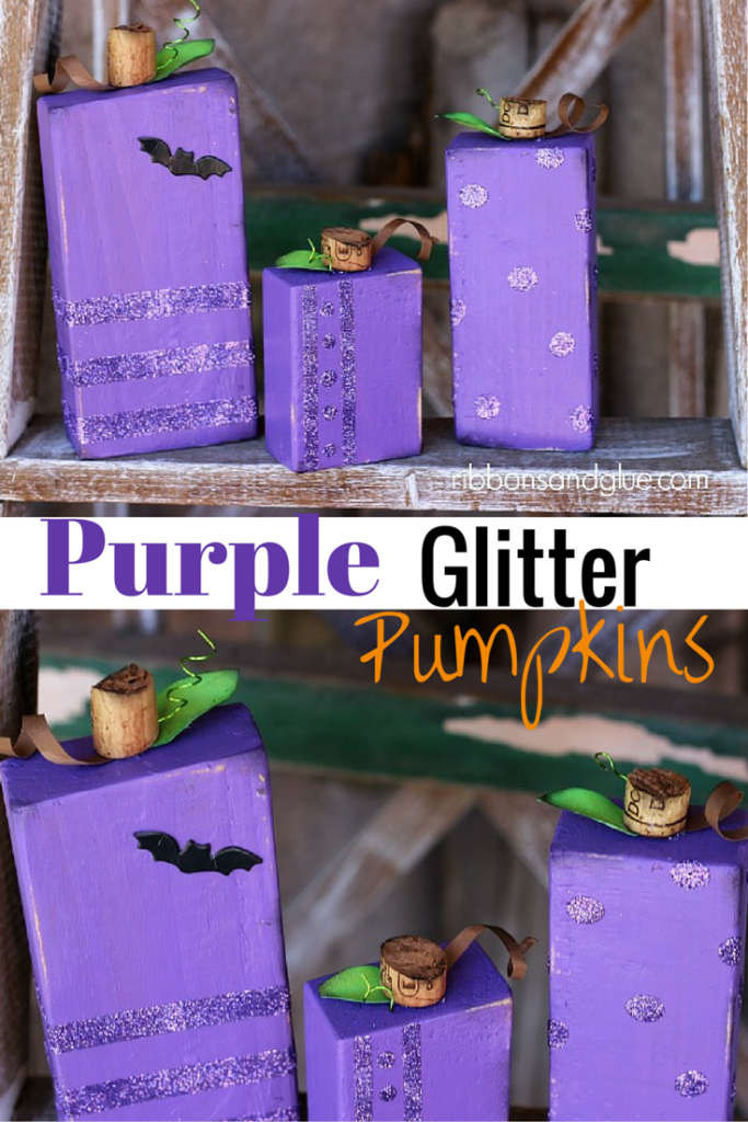 DIY Purple Glitter Pumpkins made from wood blocks, paint, and glitter! Such a fun Halloween decor!