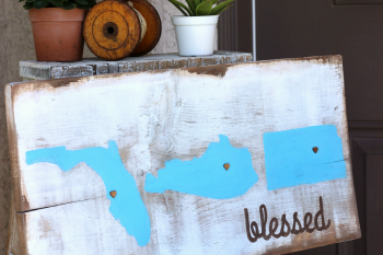 Step by Step tutorial on how to make a Rustic Blessed Sign out of a plain piece of wood.