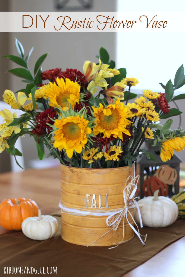DIY Rustic Flower Vase | Ribbons & Glue