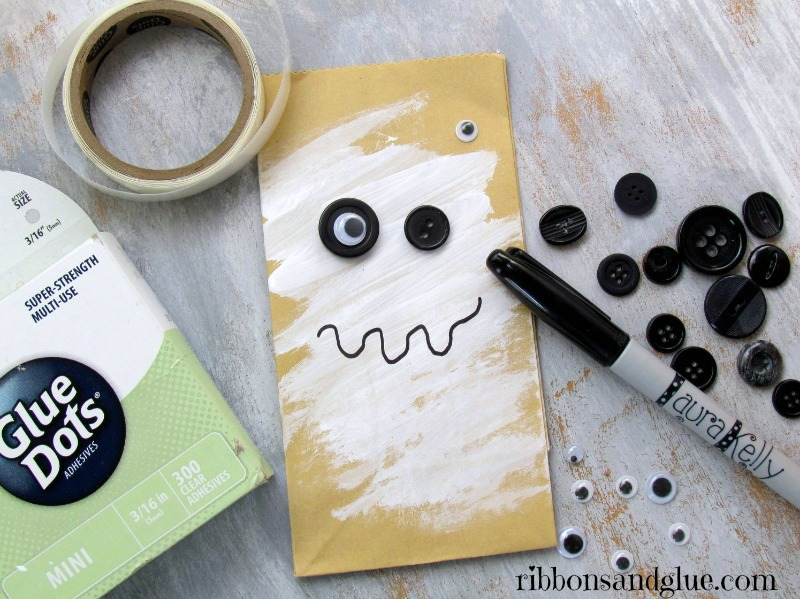 Spooky Eye Bags made with googly eyes and buttons