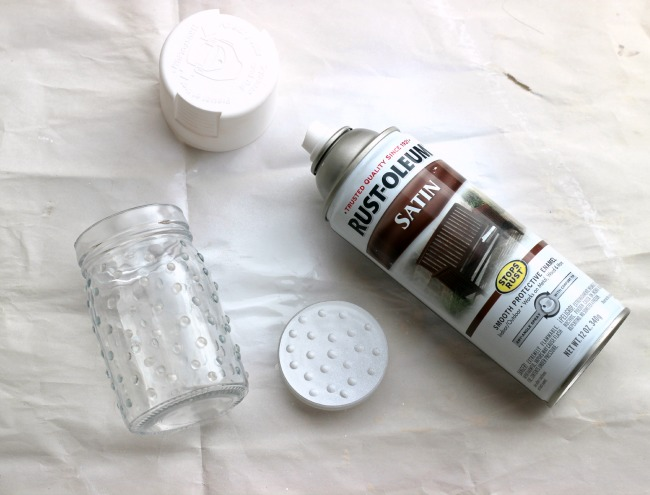 Spray Paint Glass to make Milk Glass Jars