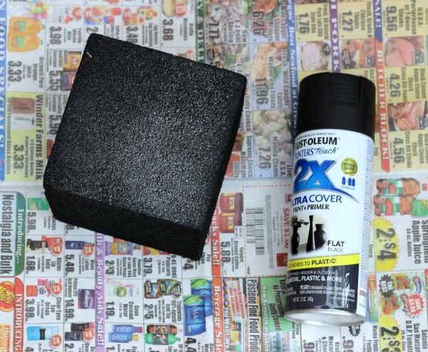 Spray painted foam block