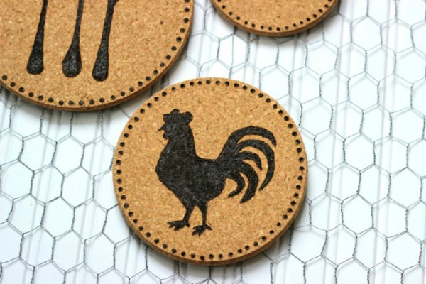 DIY Wood Burned Cork Trivet Rooster made with a woos burning tool and stencil.