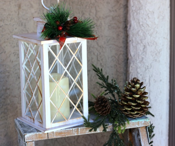 Faux Rustic Lantern displayed on front porch.