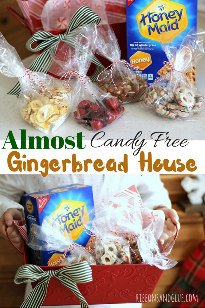 Make an Almost Candy Free Gingerbread House using graham crackers, dried fruit, nuts , yogurt covered pretzels and banana chips. The kids won't even miss the candy!