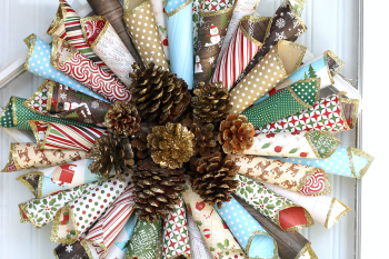 Rustic Christmas Paper Cone Wreath