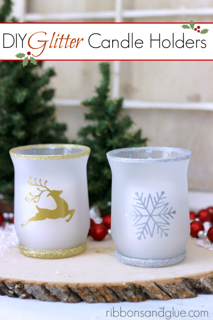 Easy DIY Christmas Glitter Candle Holders. Such a pretty and inexpensive gift idea that could be made for any Holiday.