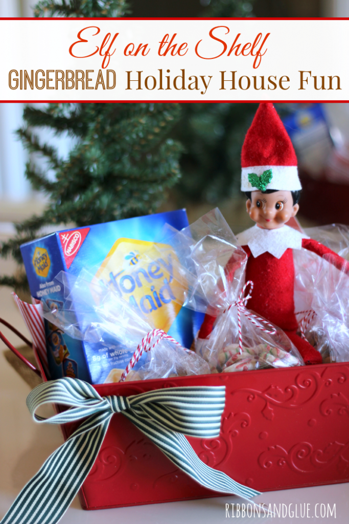 Have your Elf on the Shelf bring the kids a Gingerbread Holiday House Basket filled with almost Candy Free options like graham crackers, dried fruit, nuts , yogurt covered pretzels and banana chips. The kids won't even miss the candy! #HoneyMaidHouse #ad