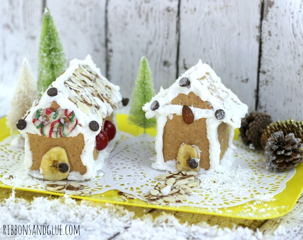 Gingerbread Houses made out of graham crackers decorated almost candy free