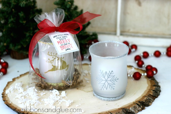 Tutorial on how to make DIY  Christmas Glitter Candle Holders. So pretty and such an easy gift idea for the Holiday's.