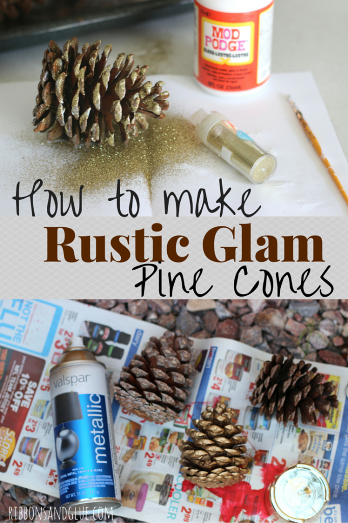 How to make DIY Rustic Glam Pine Cones. All you need is glitter and spray paint!