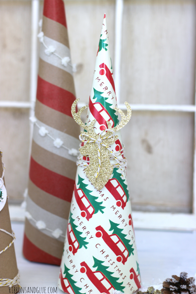 Easy tutorial on how to make Wrapping Paper Trees. Wrapping paper is such a in expensive way to add unique projects in to your Holiday Decor.