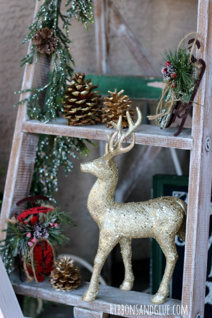 Rustic Glam Christmas Decorations displayed on a Vintage Ladder