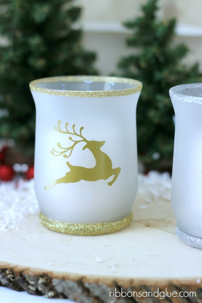 Tutorial on how to make DIY Christmas Glitter Candle Holders. Love the gold deer and glitter!