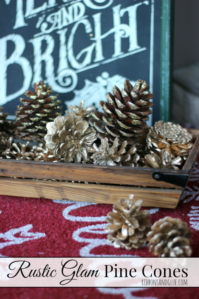 DIY Rustic Glam Pine cones to decorate the front porch So easy to make ans so pretty too. All you need is Mod Podge, glitter and spray paint.