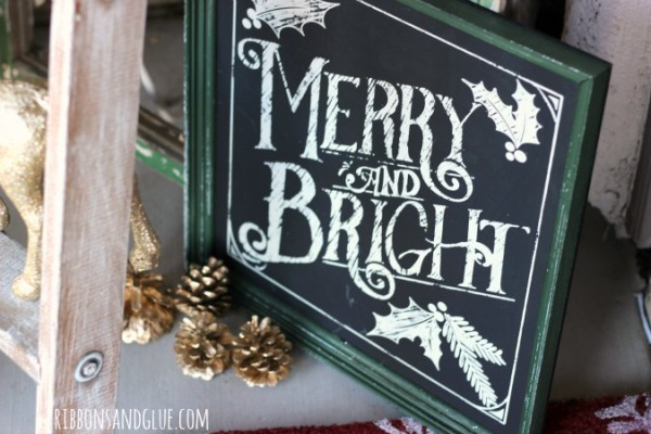 Merry & Bright Sign Chalkboard sign from Big Lots. Rustic Glam Christmas