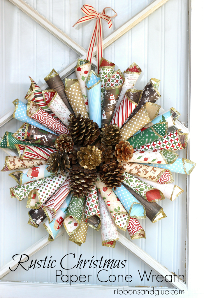 Rustic Christmas Wreath Diy.Rustic Christmas Paper Cone Wreath