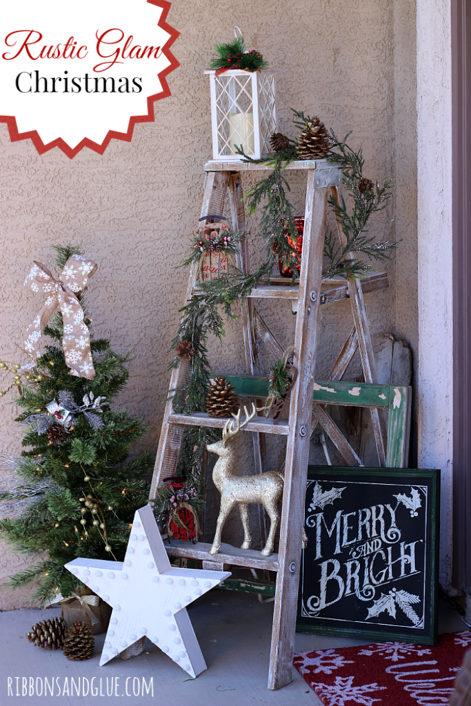 Rustic Glam Christmas Front Porch decorated with Rusric Gam Pine cones and #BigLots Holiday Collection #BIGSeaason