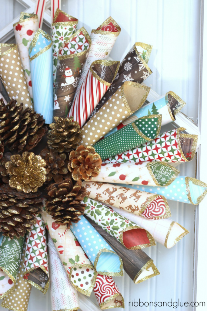 Gorgeous Rustic Christmas Paper Cone Wreath with Gold Glitter Pine Cones in the center. Beautiful Holiday Statement!