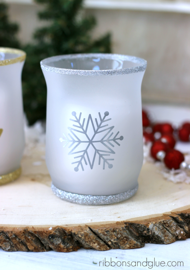 Tutorial on how to make DIY  Christmas Glitter Candle Holders. The snowflake is so pretty with the Silver glitter and frosted glass.