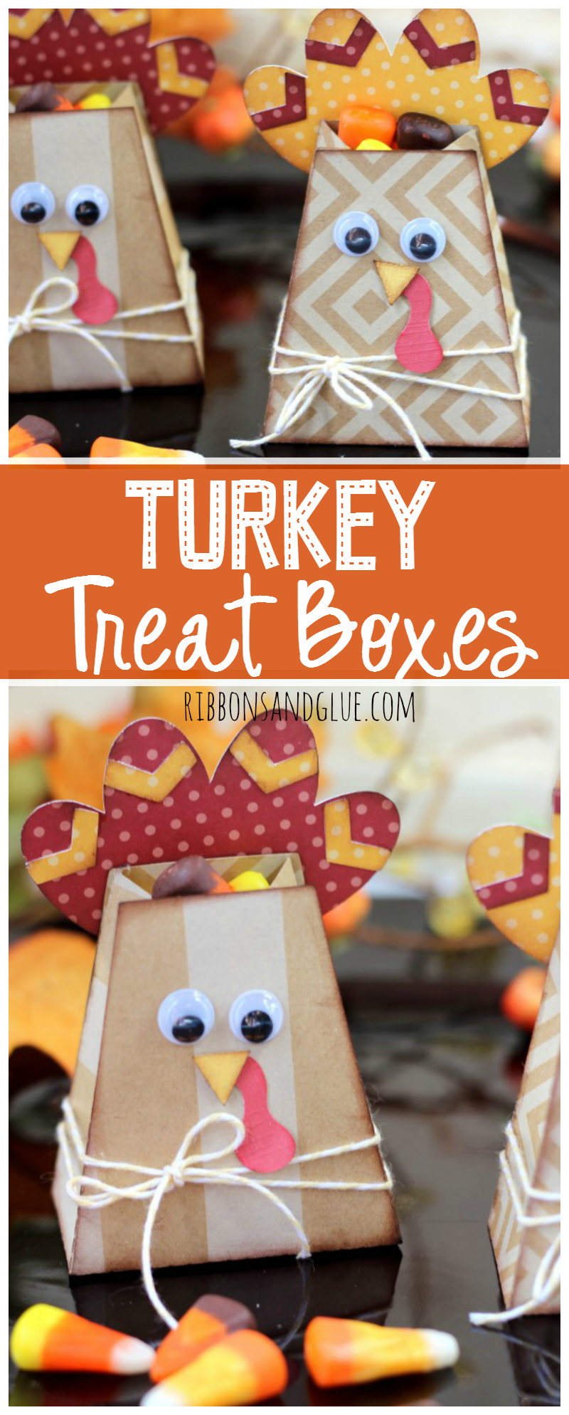 Turkey Treat boxes filled up with candy to use as place setting at the  Thanksgiving Table.