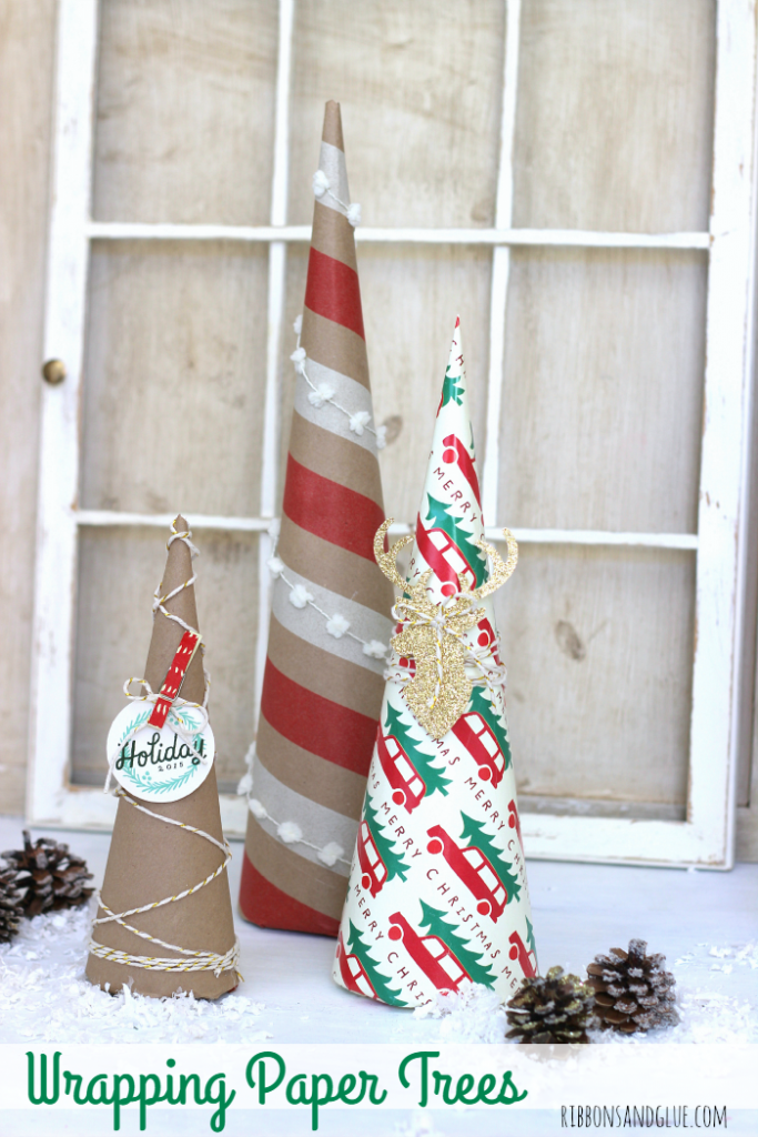 Easy tutorial on how to make Christmas  Wrapping Paper Trees. Wrapping paper is such a in expensive way to add unique projects in to your Holiday Decor.