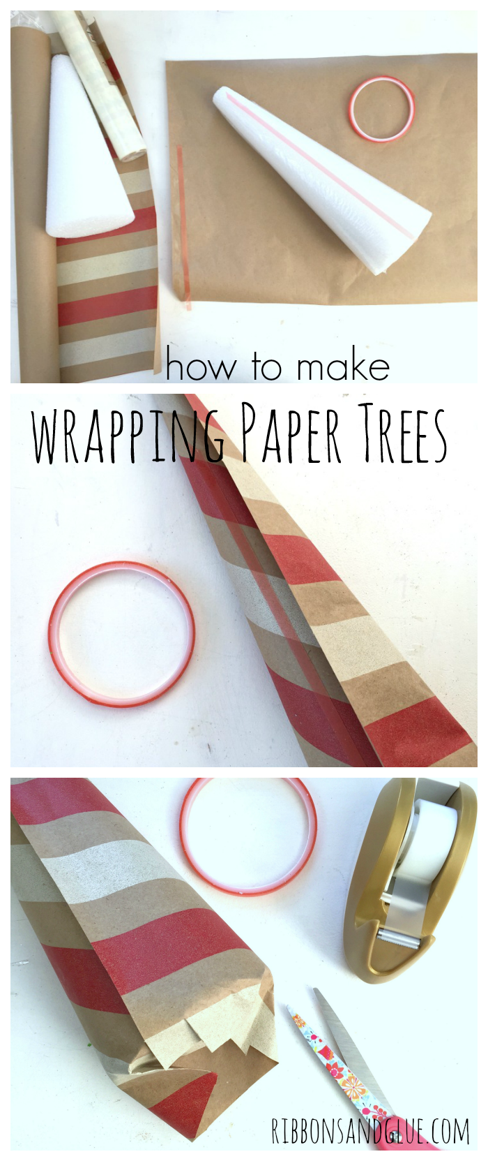 How to make Wrapping Paper Trees. All you need is pretty gift wrap, foam cones and double sided tape. Inexpensive way to all unique touches in to your Holiday decor.