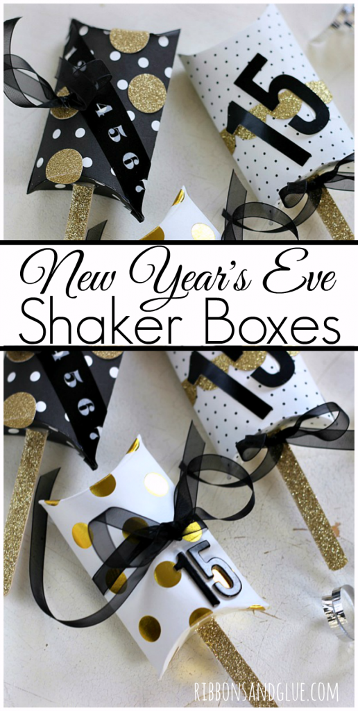 DIY New Year's Eve Shaker Boxes made from a pillow box on a stick with popcorn kernels inside!