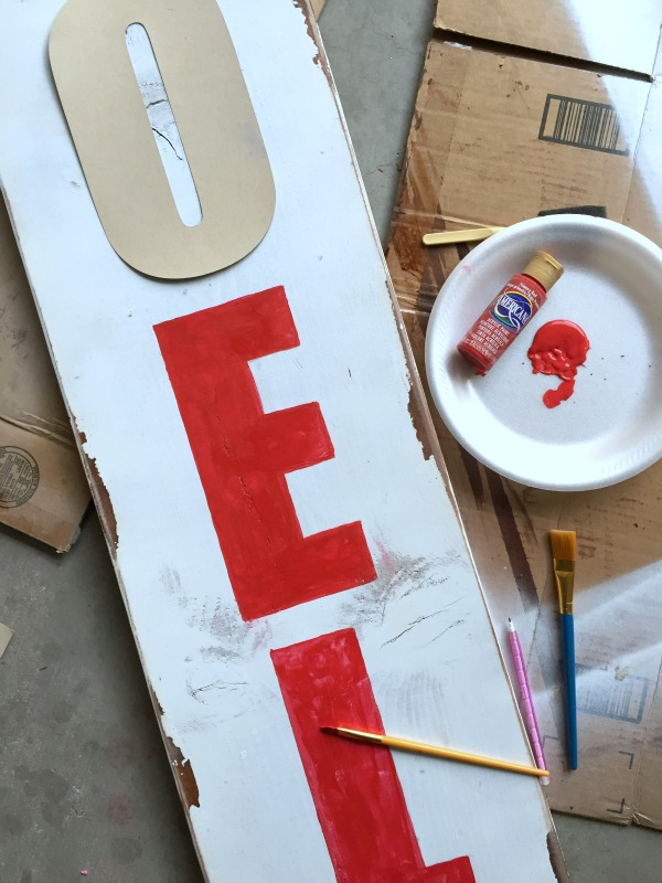 Hand Painted Rustic Sign with stencils