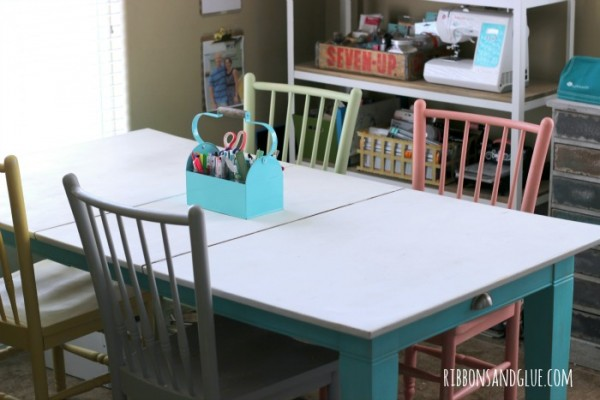 Craft Table pained with chalky finish paints