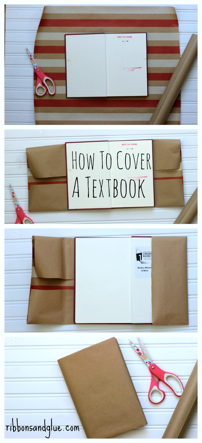 How to Cover a Textbook with Kraft paper! Such and easy craft idea to protect books at school or even for and home decor.