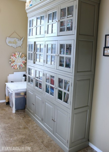 Large Storage Cabinet full of craft supplies.