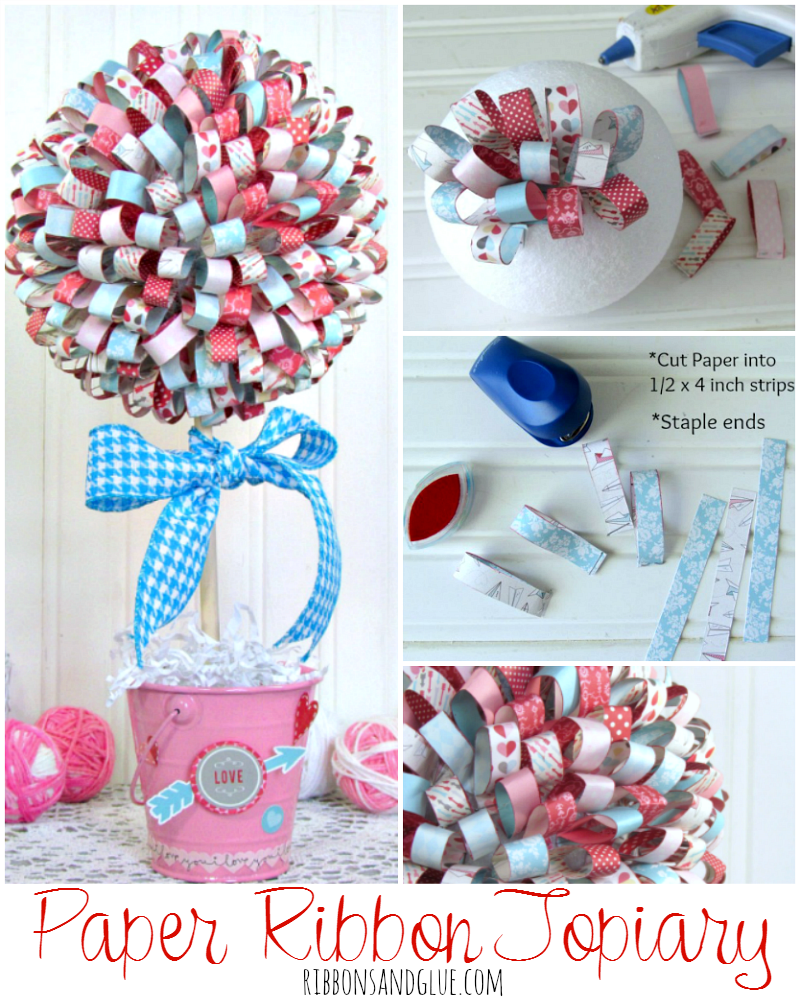 Valentine's Paper Ribbon Topiary.  Gorgeous and simple Valentine's DIY home decor project