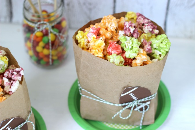 Skittles Popcorn in Football embossed paper bags