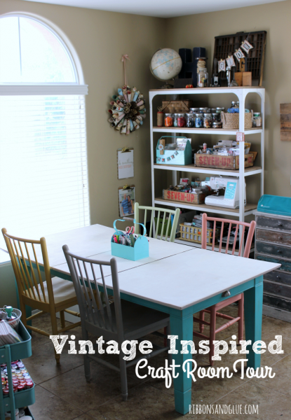 Vintage Craft Room Tour- Ribbons & Glue